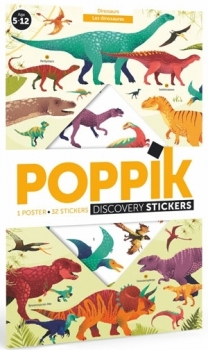 Poppik Stickerposter - Discovery (1 Poster + 32 Sticker) / Dinosaurier (5-12 J.)